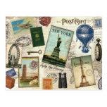 Modern Vintage Travel Collage Postcard at Zazzle