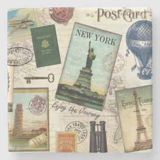 modern vintage travel collage stone coaster