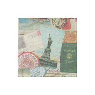 modern vintage travel collage stone magnet