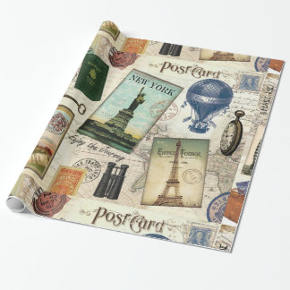 modern vintage travel collage wrapping paper