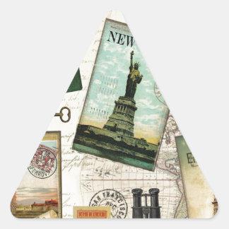Modern vintage travel triangle sticker