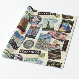 Modern Vintage Travel USA Gift Wrap