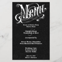 Modern Vintage Typography Chalkboard  Wedding Menu
