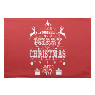 modern vintage typography christmas tree placemat