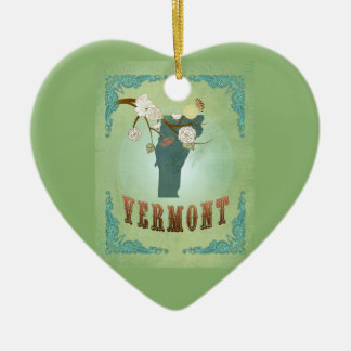 Modern Vintage Vermont State Map – Sage Green Double-Sided Heart Ceramic Christmas Ornament