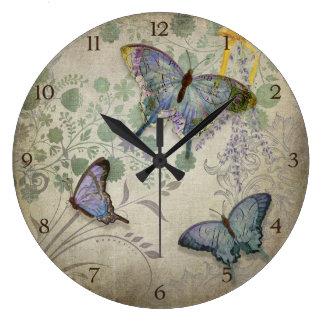 Modern Vintage Wallpaper Floral Design Butterflies Large Clock