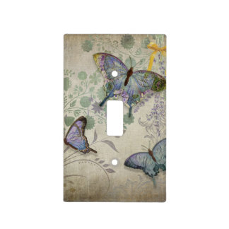 Modern Vintage Wallpaper Floral Design Butterflies Light Switch Cover