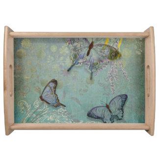 Modern Vintage Wallpaper Floral Design Butterflies Food Trays