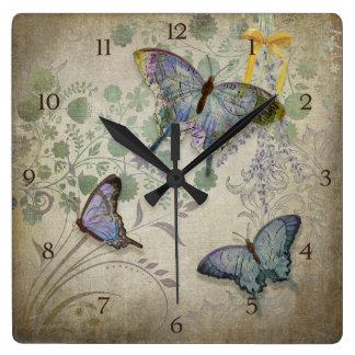 Modern Vintage Wallpaper Floral Design Butterflies Square Wall Clock