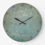 Modern Vintage Wallpaper Floral Design Flower Art Wall Clock