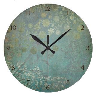 Modern Vintage Wallpaper Floral Design Flower Art Large Clock