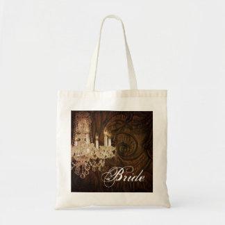 modern vintage western  chandelier bride budget tote bag