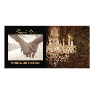 modern vintage western  chandelier thank you photo card template