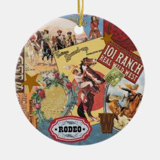 modern vintage western cowgirl ceramic ornament