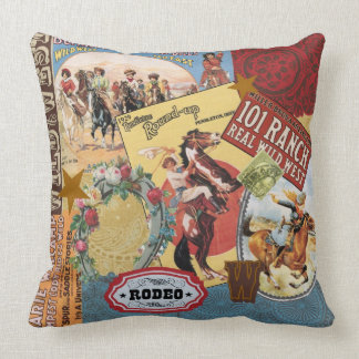 modern vintage western cowgirl throw pillow