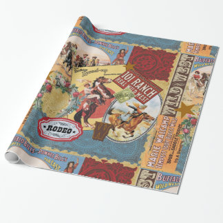 modern vintage western cowgirl wrapping paper