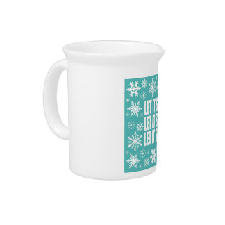 modern vintage whimsical snowflakes beverage pitcher