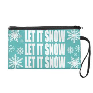 modern vintage whimsical snowflakes wristlet purse