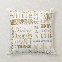 Modern Vintage White Christmas pillow