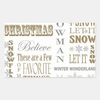 Modern Vintage White Christmas word collage Rectangular Sticker