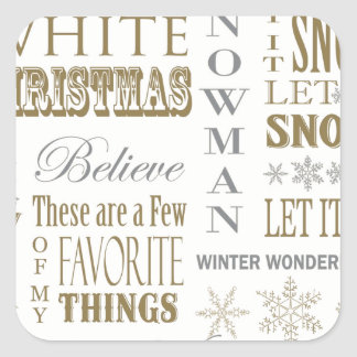 Modern Vintage White Christmas word collage Square Sticker