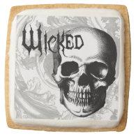 modern vintage wicked skull head square sugar cookie