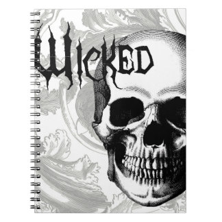 modern vintage wicked skull head notebook