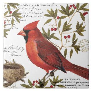 modern vintage winter cardinal ceramic tile