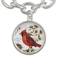 modern vintage winter cardinal charm bracelet