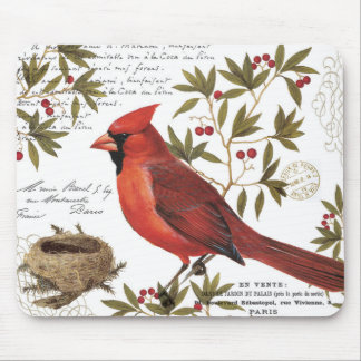 modern vintage winter cardinal mouse pad