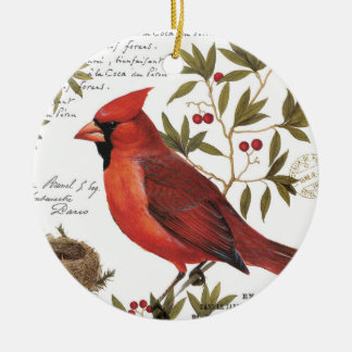 modern vintage winter cardinal Double-Sided ceramic round christmas ornament