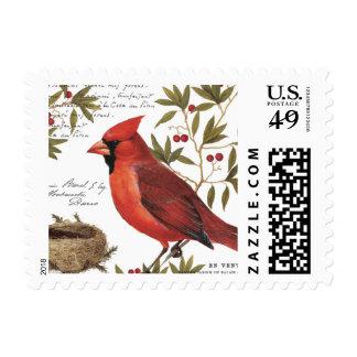 modern vintage winter cardinal postage