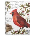 modern vintage winter cardinal spiral note book