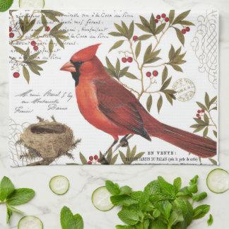 modern vintage winter cardinal towel