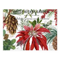 Modern vintage winter garden floral postcard
