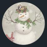 """modern vintage winter garden snowman classic round sticker<br><div class=""""desc"""">modern vintage winter garden snowman</div>"""