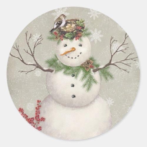 modern vintage winter garden snowman classic round sticker