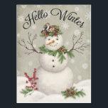 """modern vintage winter garden snowman postcard<br><div class=""""desc"""">modern vintage winter garden snowman</div>"""