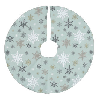 modern vintage winter snowflakes faux linen tree skirt