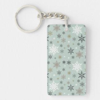 modern vintage winter snowflakes keychain