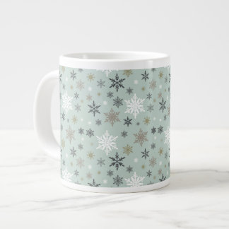 modern vintage winter snowflakes large coffee mug
