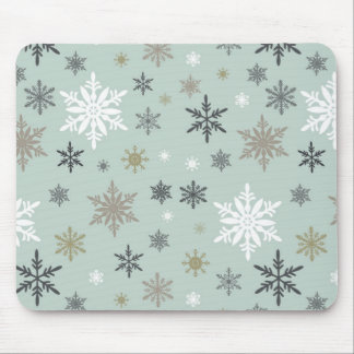modern vintage winter snowflakes mouse pad