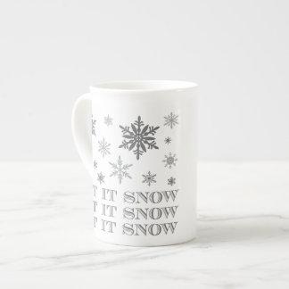 modern vintage winter snowflakes tea cup