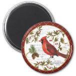 modern vintage winter woodland cardinal 2 inch round magnet
