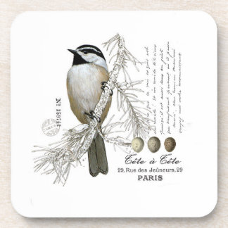 modern vintage winter woodland chickadee beverage coasters