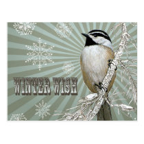 modern vintage winter woodland chickadee postcard