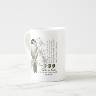 modern vintage winter woodland chickadee tea cup
