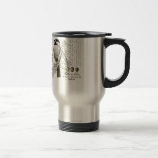 modern vintage winter woodland chickadee travel mug