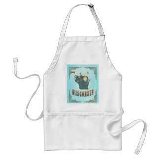 Modern Vintage Wisconsin State Map – Aqua Blue Adult Apron