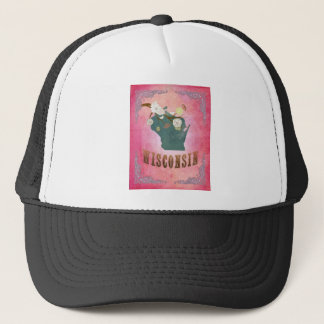 Modern Vintage Wisconsin State Map- Candy Pink Trucker Hat